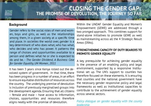 Thumbnail Of Gender And Devolution Policy Brief