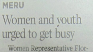 Women And Youth Urged To Get Busy